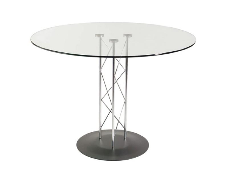 "42"" Glass Table Top & Chrome Base"